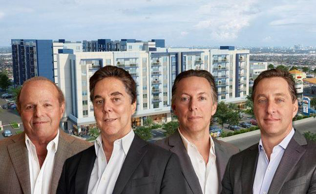 principle developers of Coral Rock Development Group in front of large apartment complex in Florida
