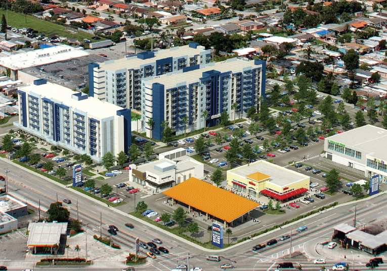 aerial view of residential development in Hialeah Miami Dade County Florida United States